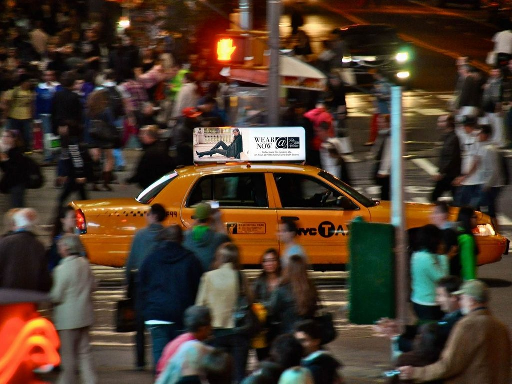 With LED backlighting, your taxi top ad will light up the night!